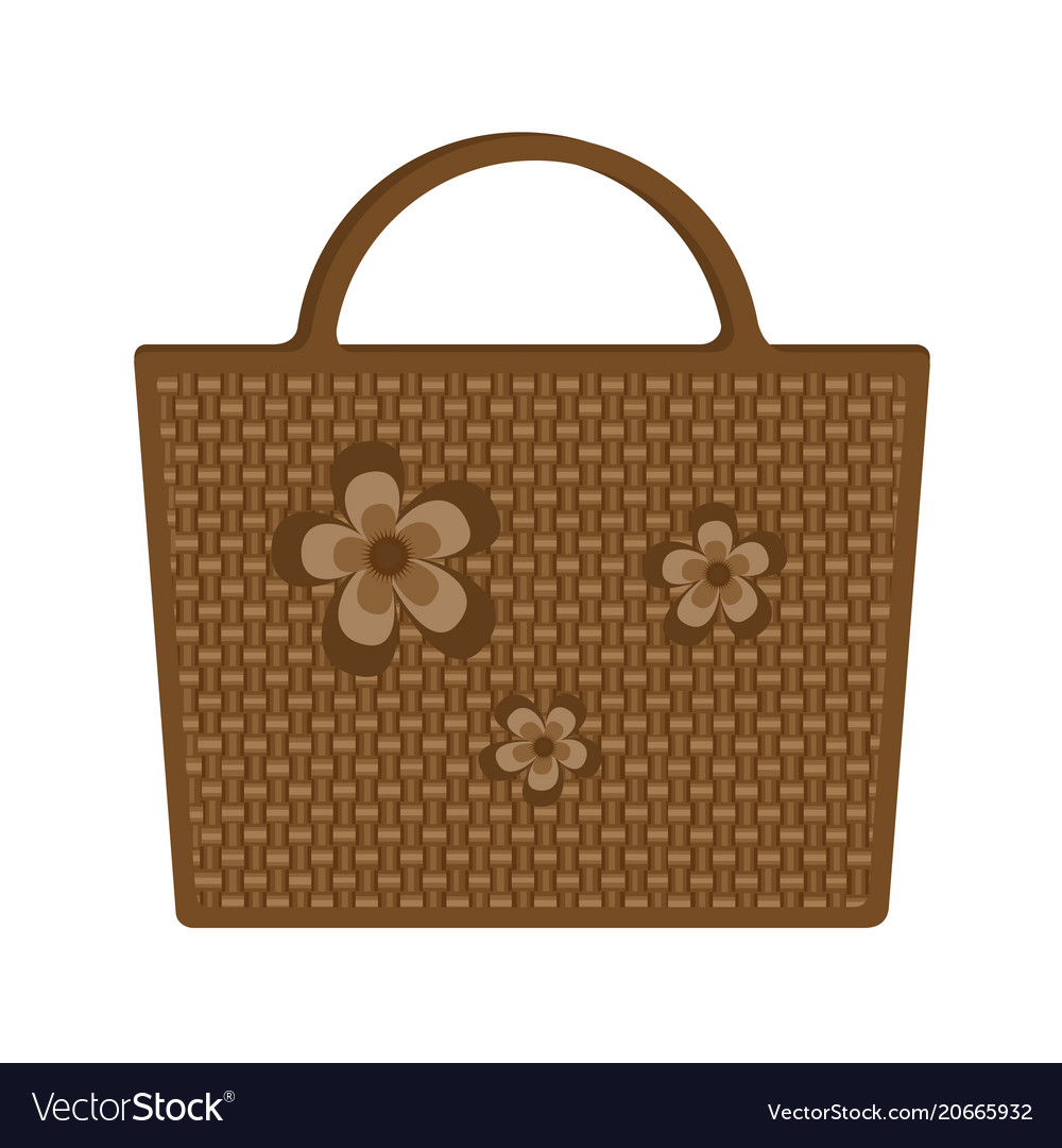 Bag beach wicker decorated flowers isolated on