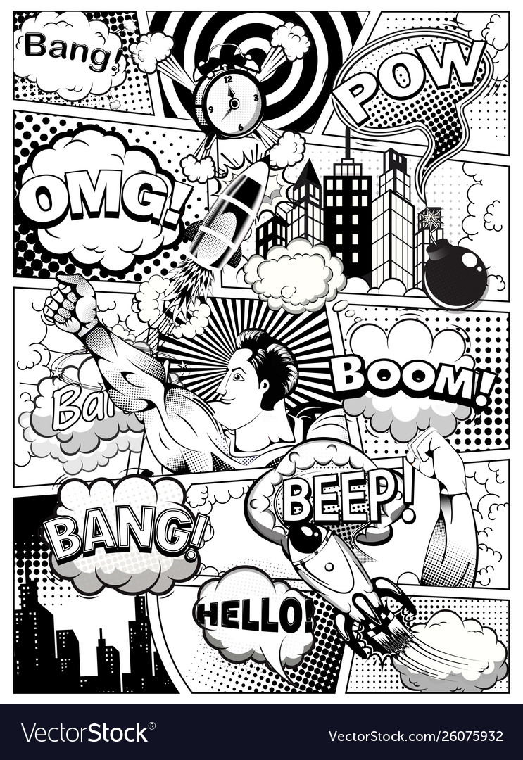 Black and white comic book page