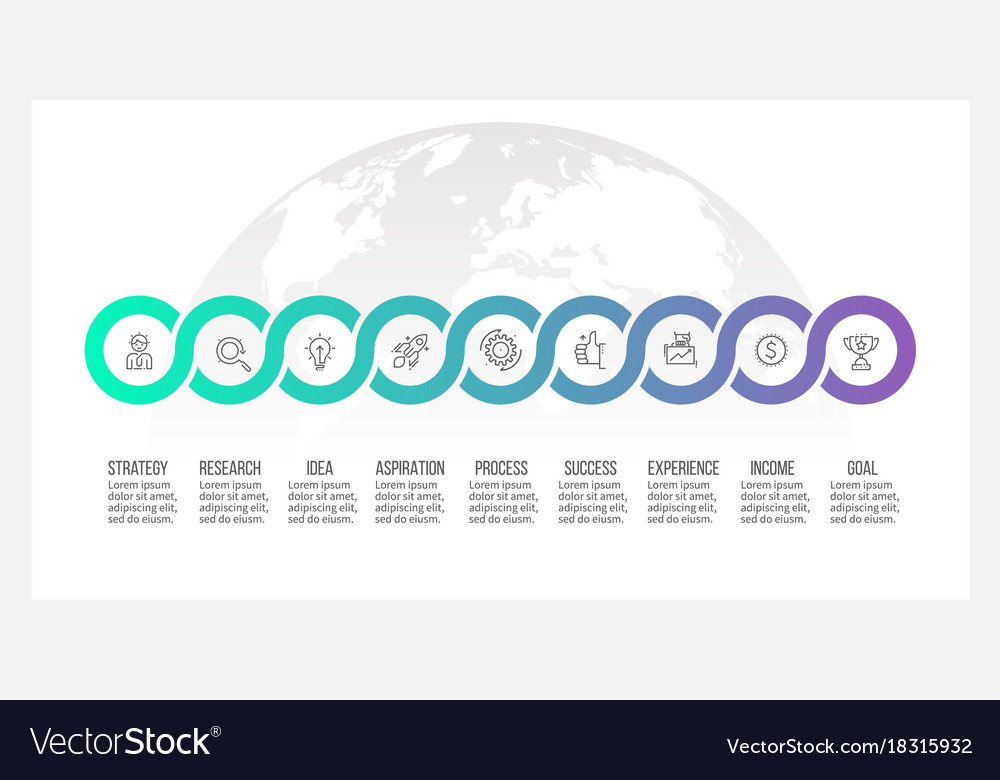 Business process timeline infographics with 9 vector image