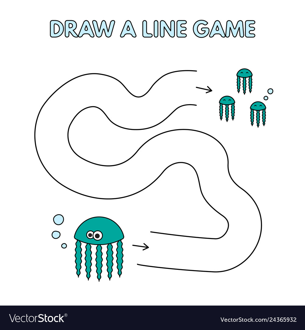 Cartoon jellyfish draw a line game for kids