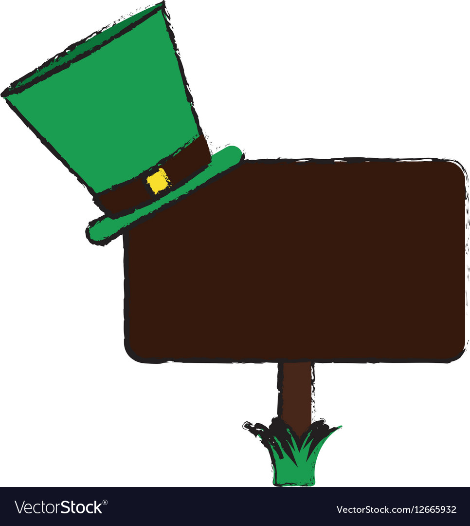 Cartoon Wooden Sign St Patrick Day Hat Royalty Free Vector
