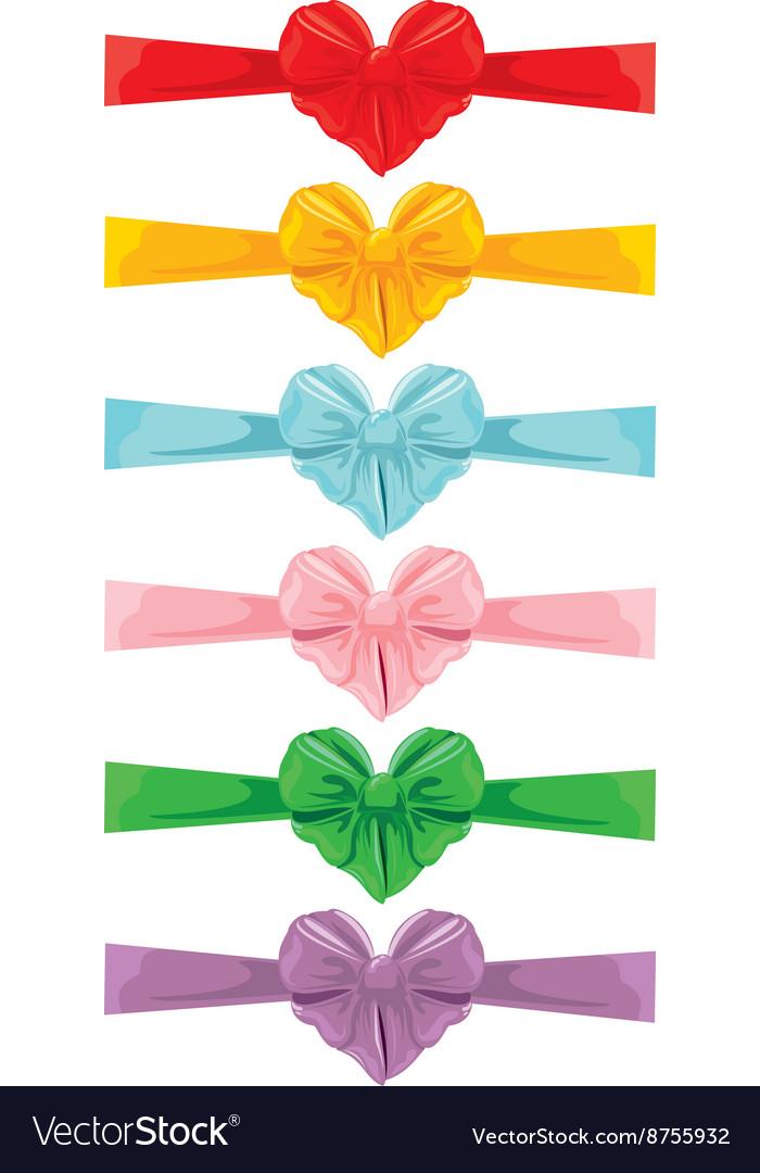 Color bow heart shape 380