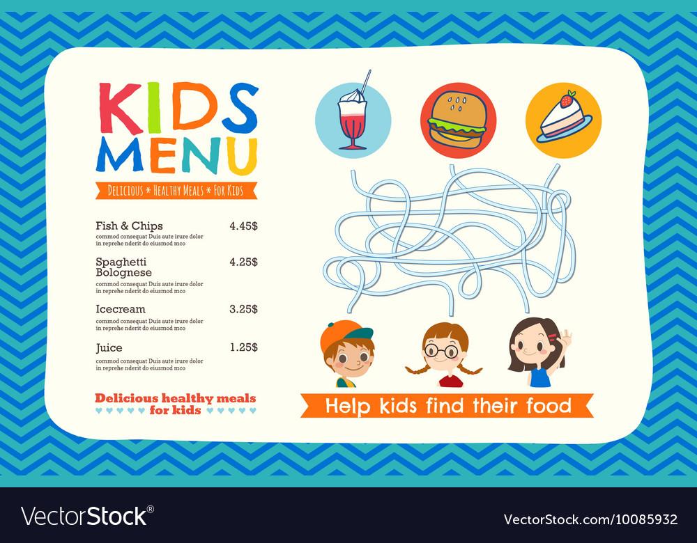 Cute colorful kids meal menu placemat template vector image maxwellsz