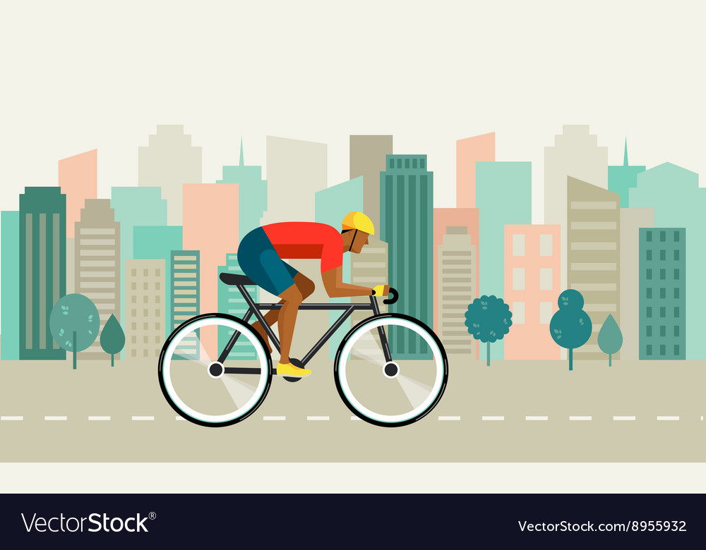 Cyclist riding on bicycle on city poster vector image