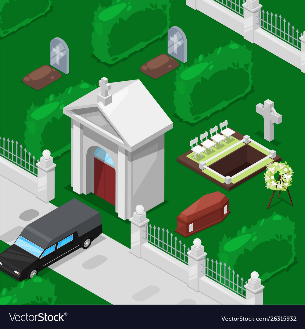 Funeral and cemetery isometric