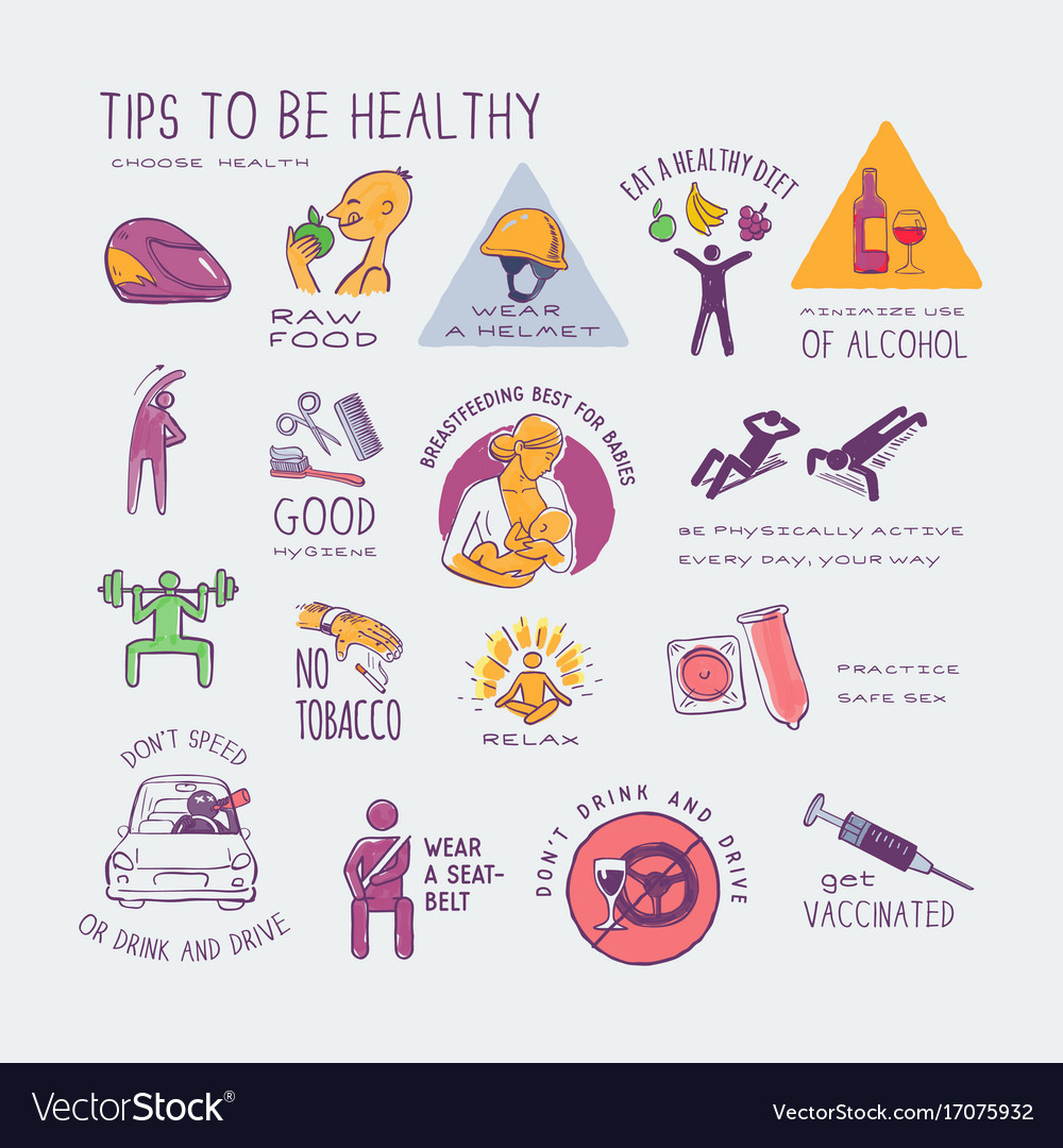 Healthy live style colorful hand drawn icons set