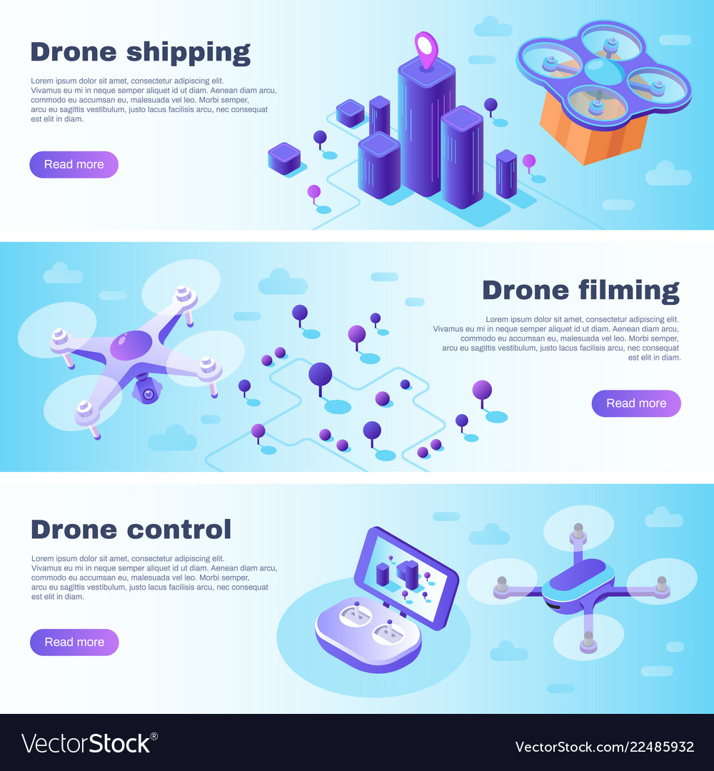 Isometric drone banner flight drones delivery