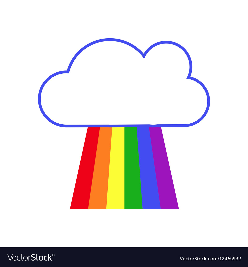 Rainbow and cloud white background