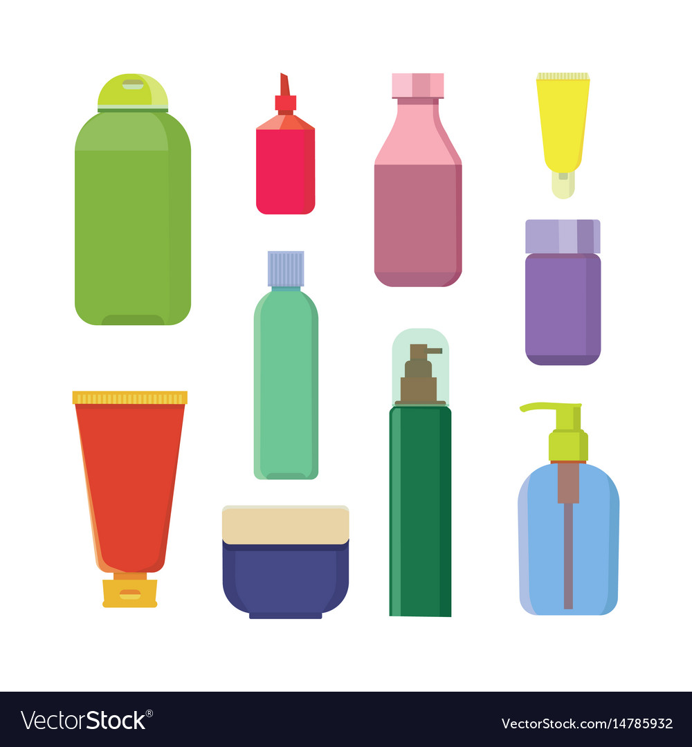 Set of color cosmetic bottle beauty spa vector image