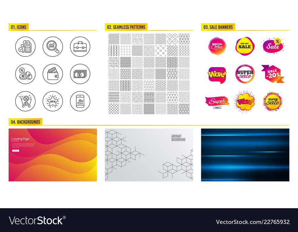 Shopping cart debit card and portfolio icons