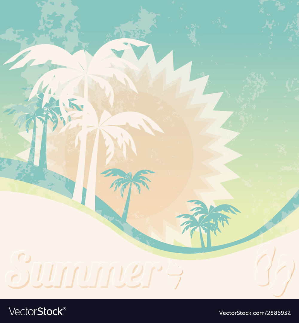 Summer Holiday Card With Palm Trees And Flip Flops