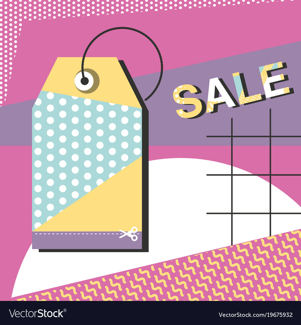 Super sale modern banner in memphis style