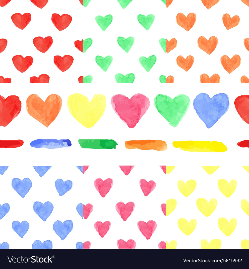 Watercolor colored heart seamless patternBaby
