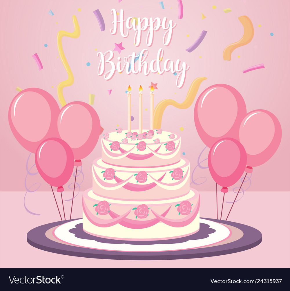 Sensational A Birthday Cake On Pink Background Royalty Free Vector Image Funny Birthday Cards Online Sheoxdamsfinfo