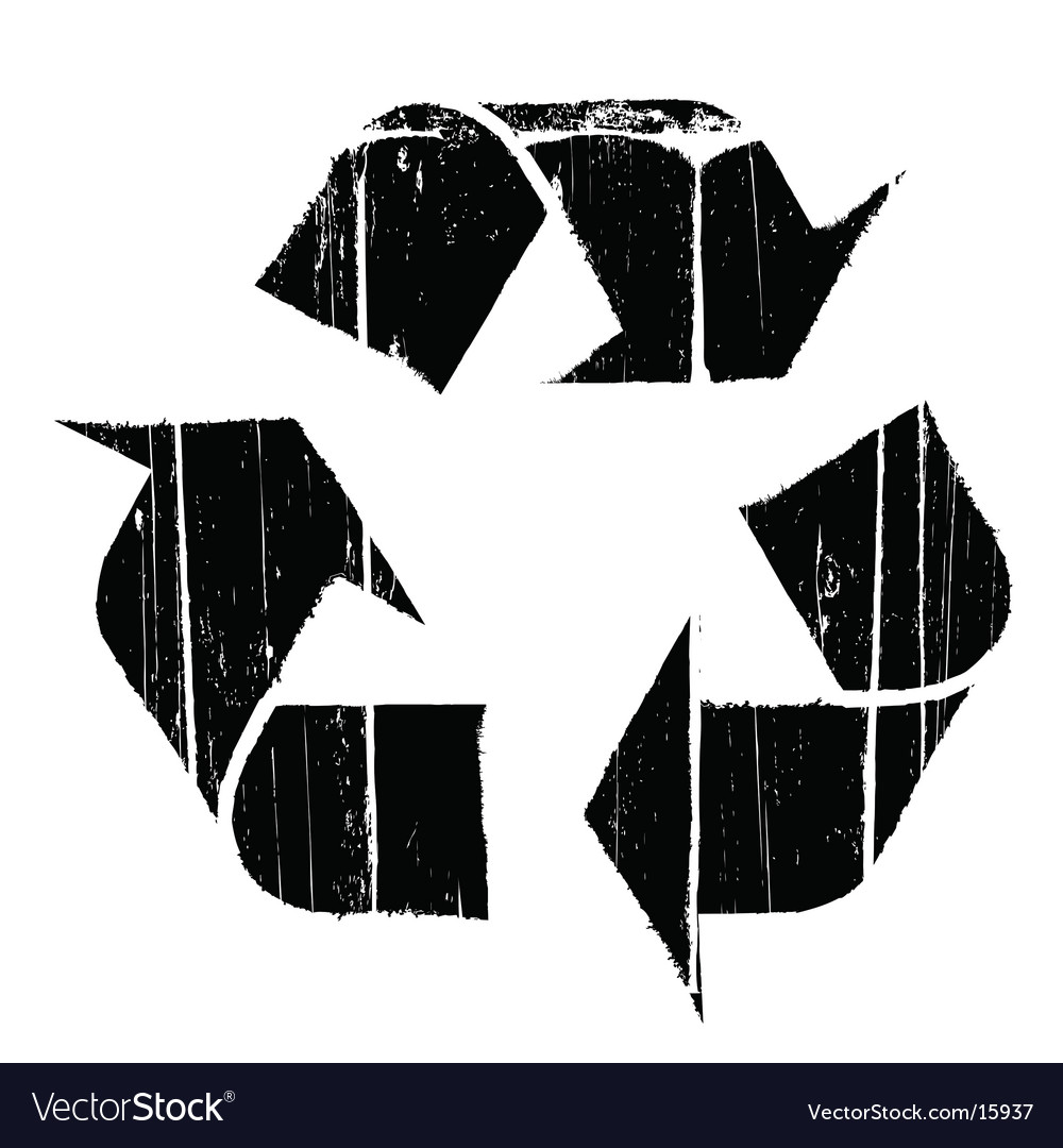 Aged old recycle symbol texture vector image