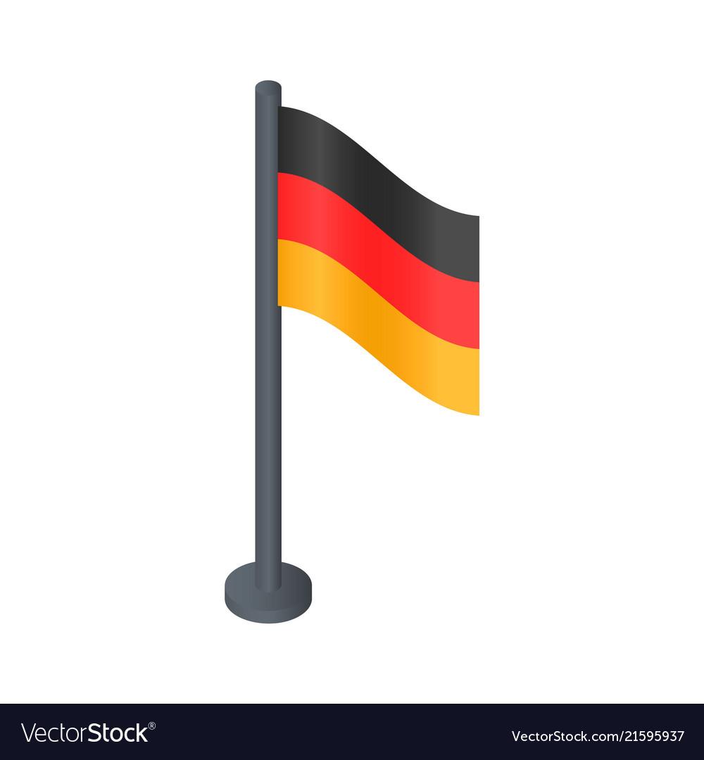 Black desktop german flag icon isometric style