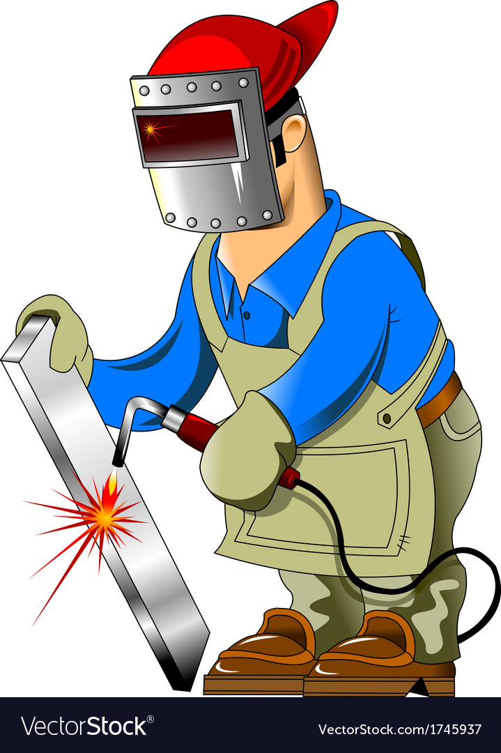 cartoon welder royalty free vector image vectorstock