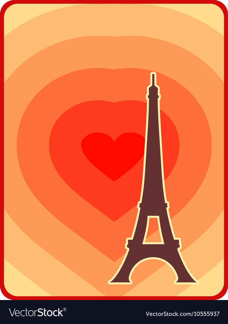 Eiffel tower in Paris Outline silhouette vector image