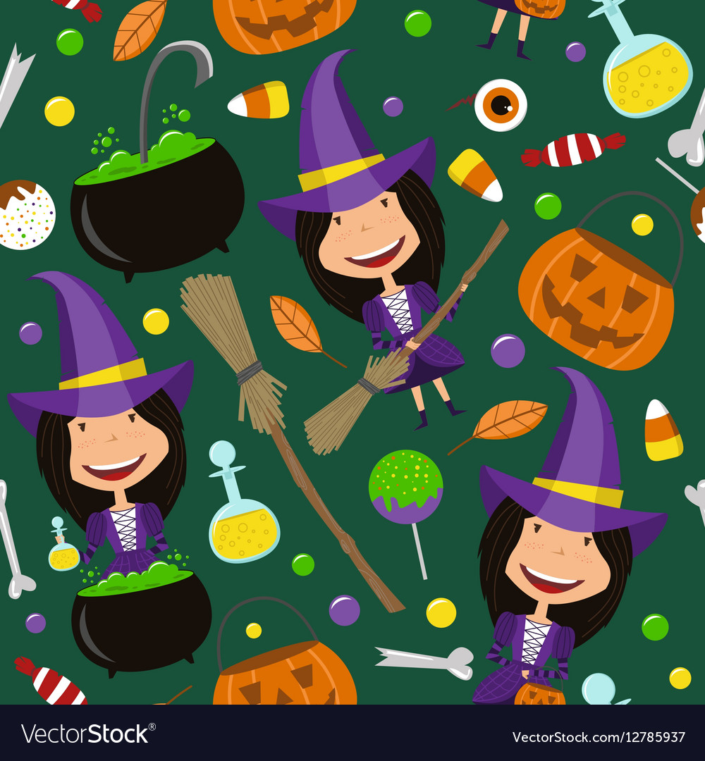 Halloween background with teenager and magic tools vector image