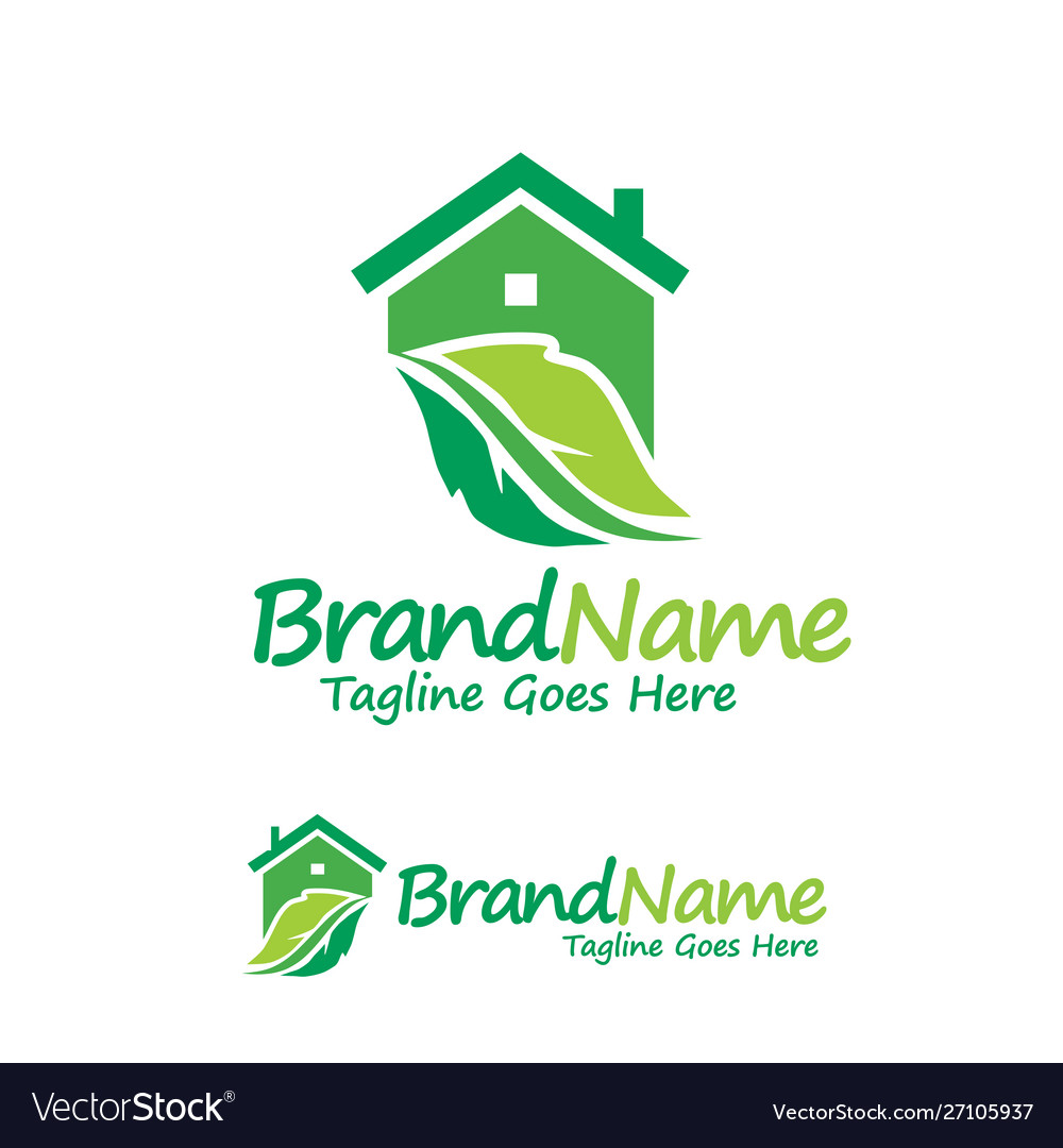 House and green leaf logo