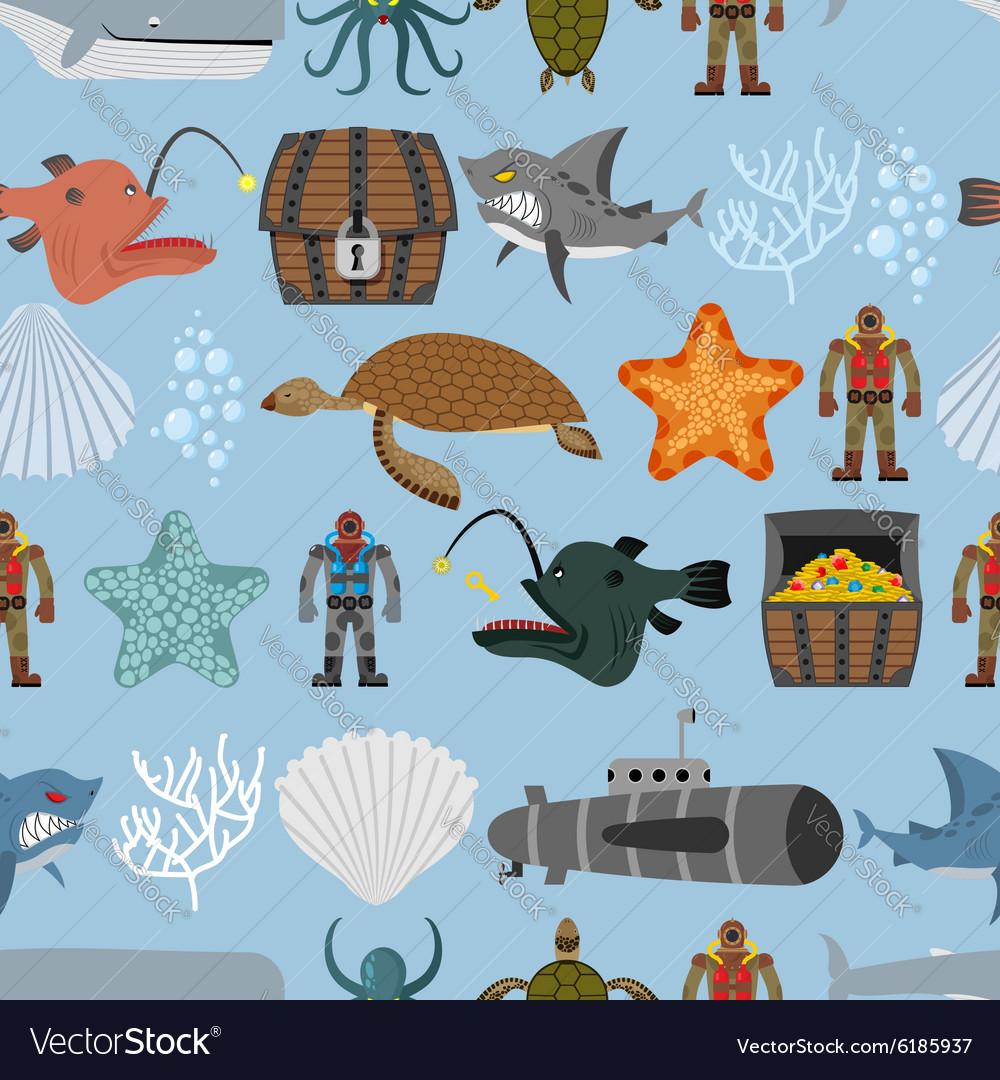 Ocean life seamless pattern Shark and aquatic