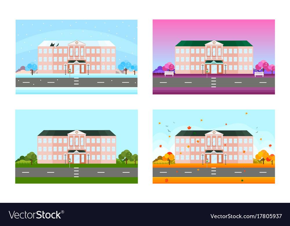 School set in different seasons background vector image