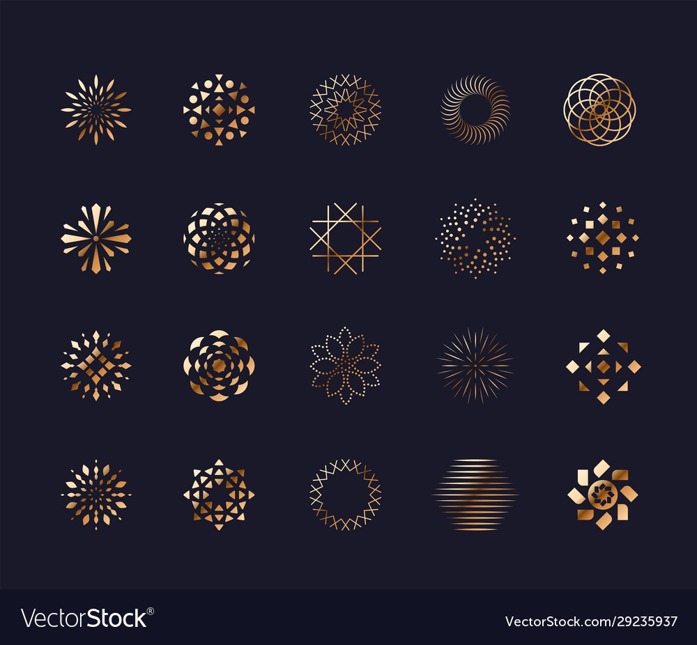 Set luxury golden abstract flower symbols