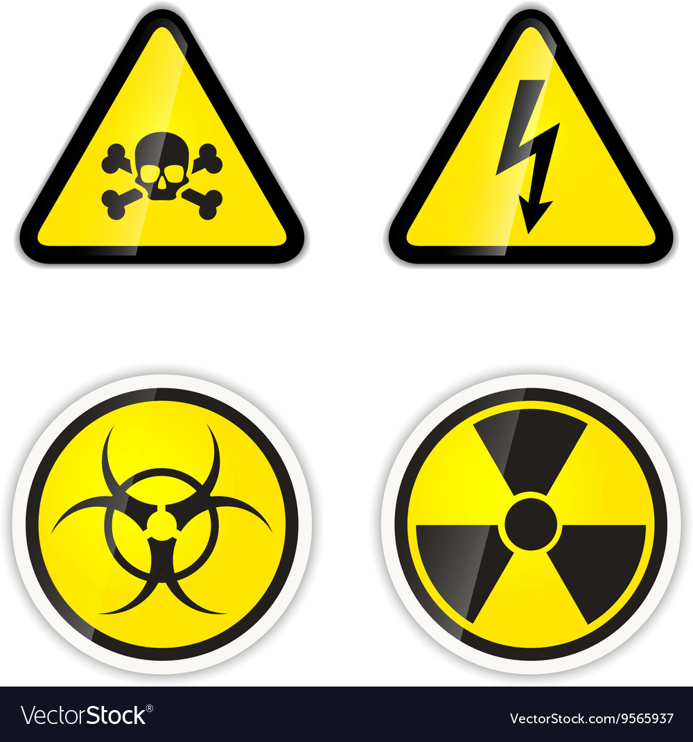 Set of four warnings signs for high voltage