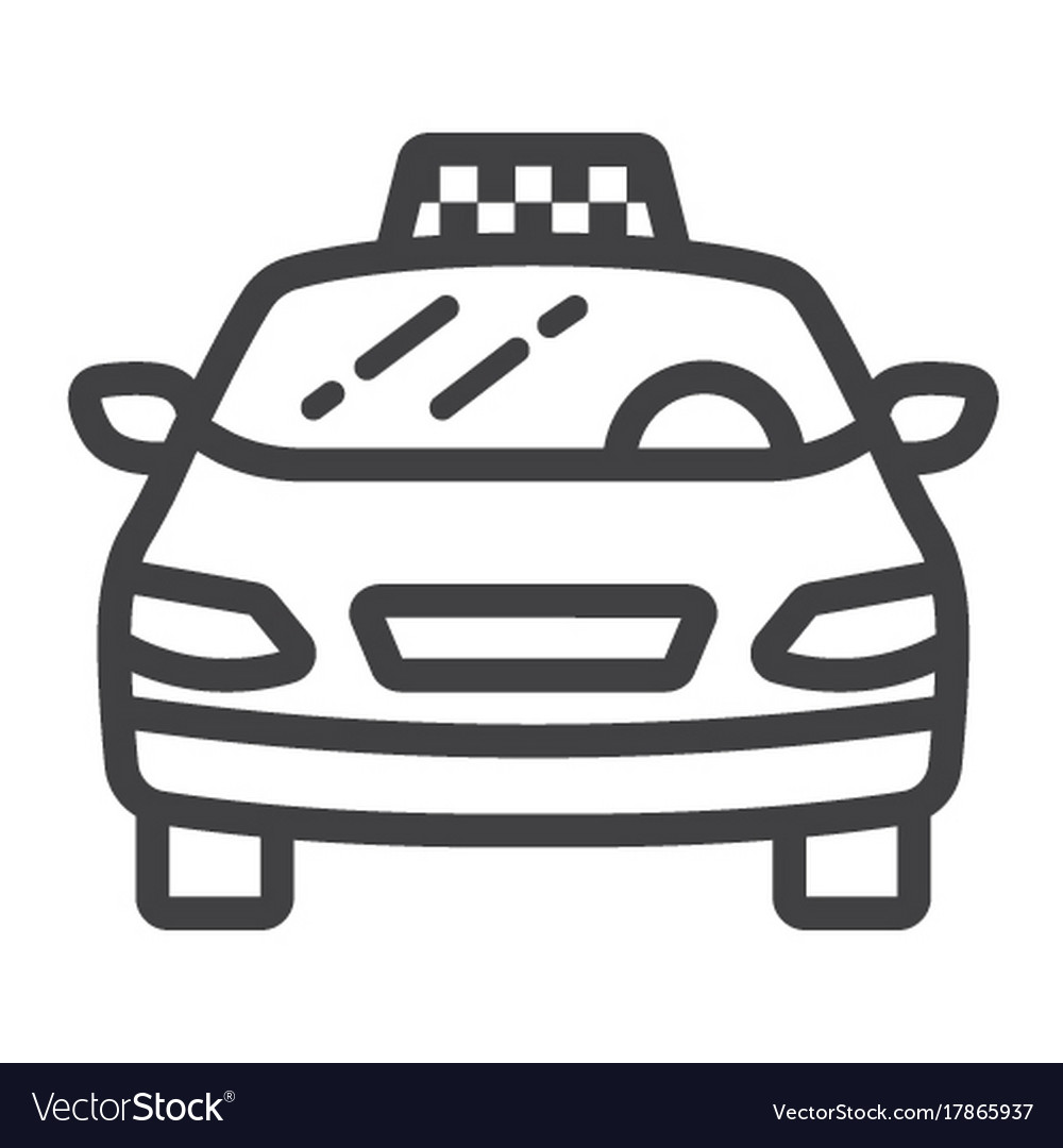 Taxi car line icon transport and automobile