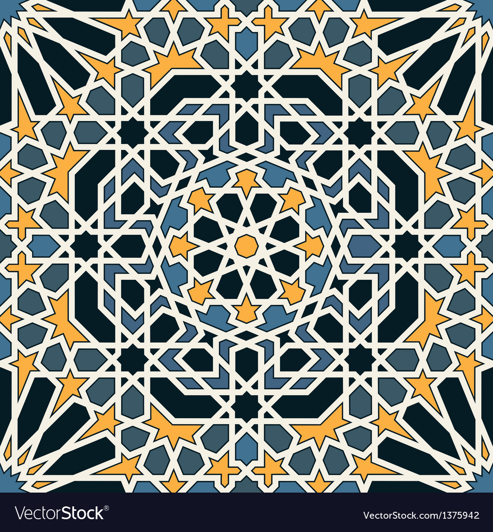 Arabesque seamless pattern in blue and yellow