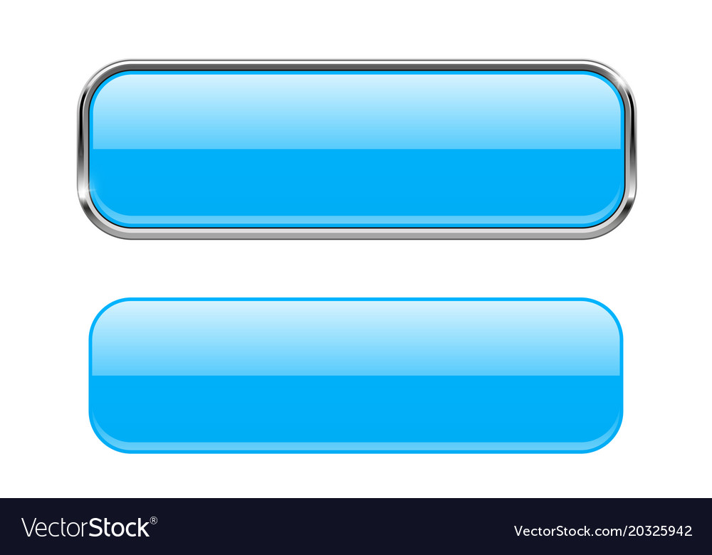Blue glass buttons with chrome frame rectangle 3d