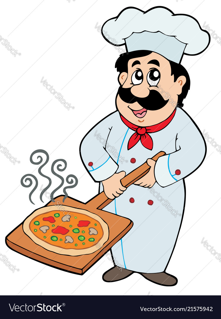 Chef holding pizza plate