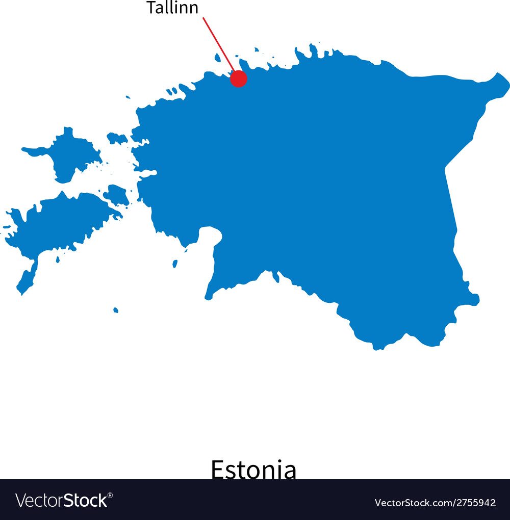 Detailed map of estonia and capital city tallinn vector image gumiabroncs Choice Image