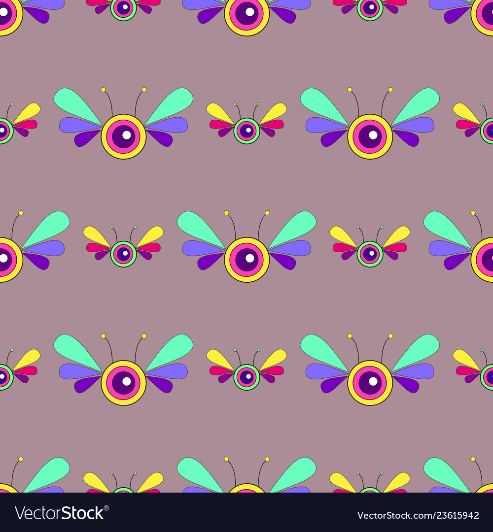 Fantasy psychedelic insect bright seamless pattern
