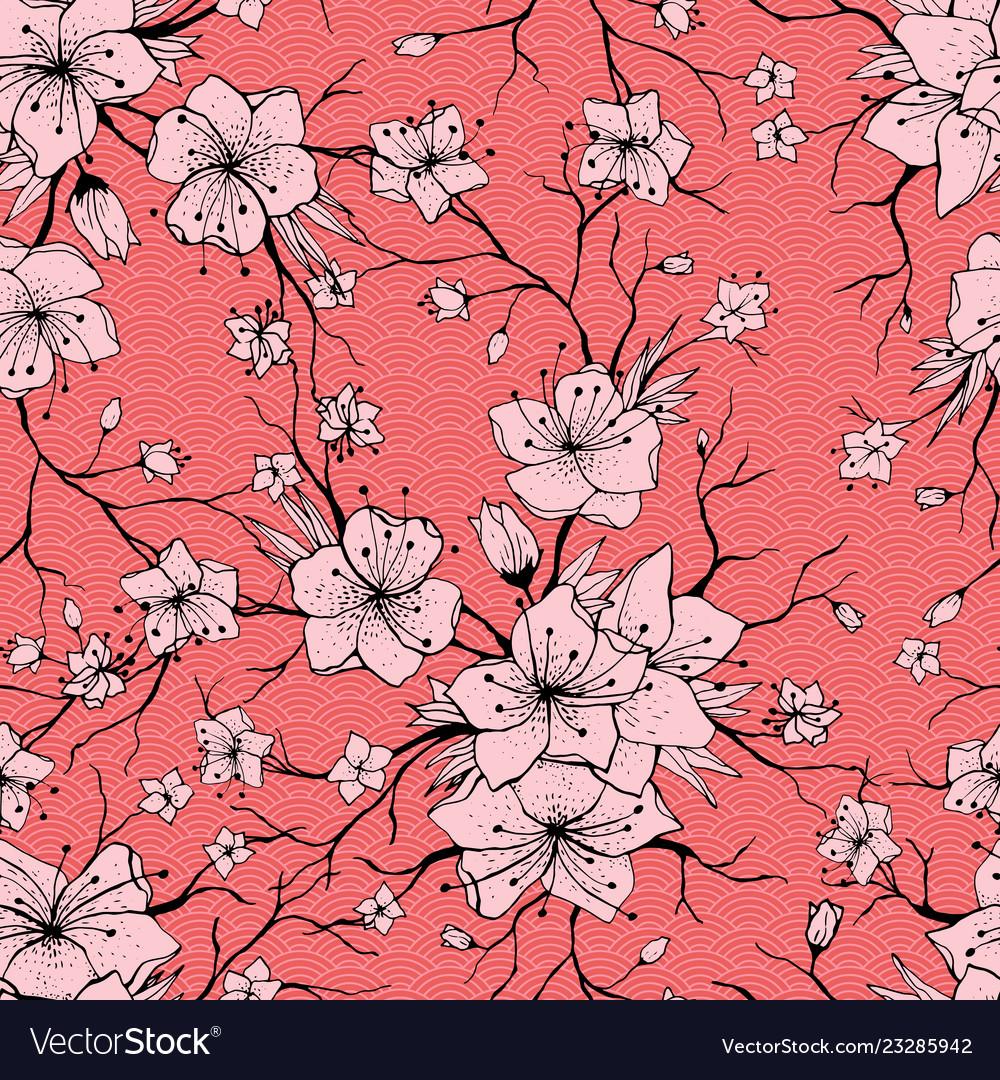 Japanese sakura branch and blossoming flowers
