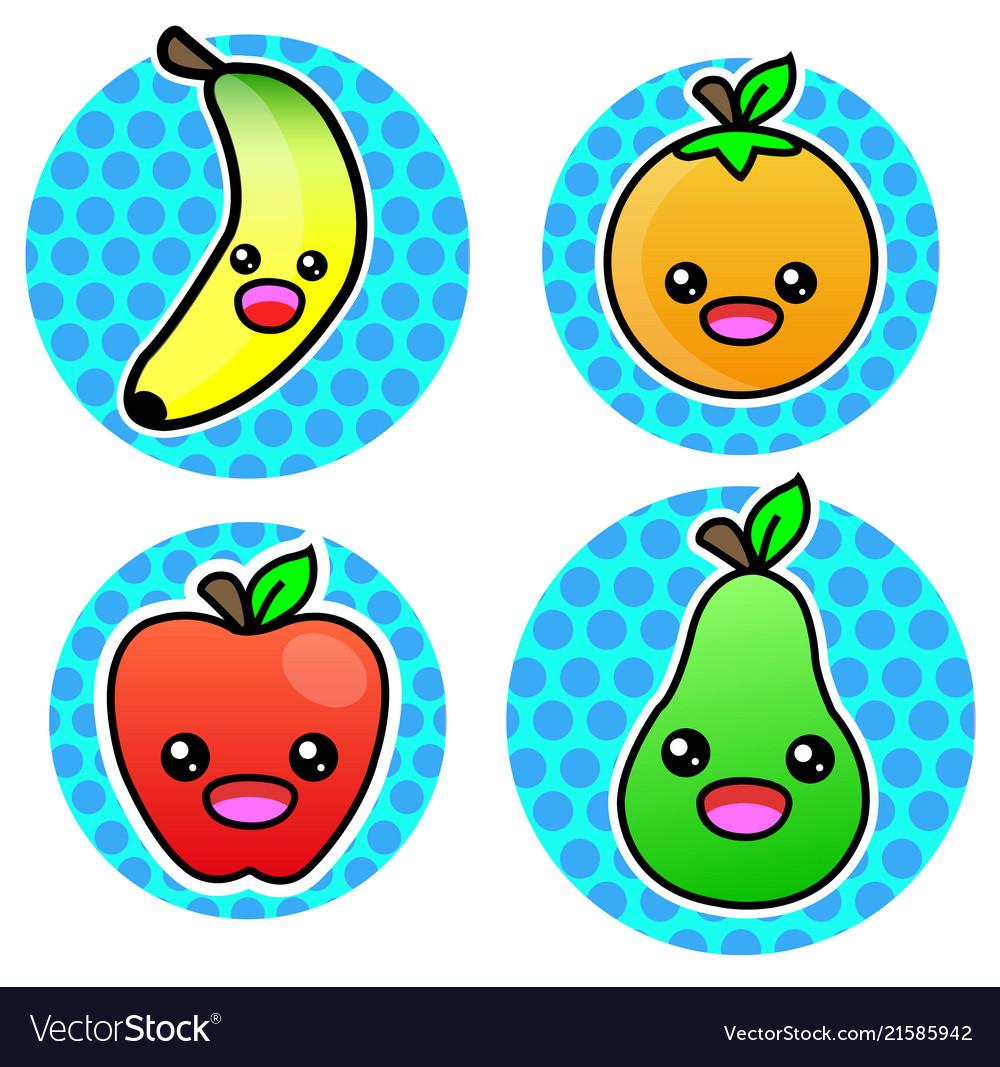 Orange banana apple pear fruit cartoon color