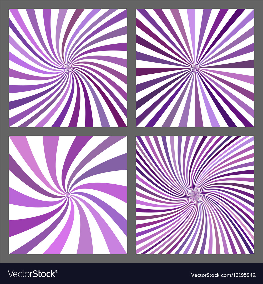 Purple spiral ray and starburst background set