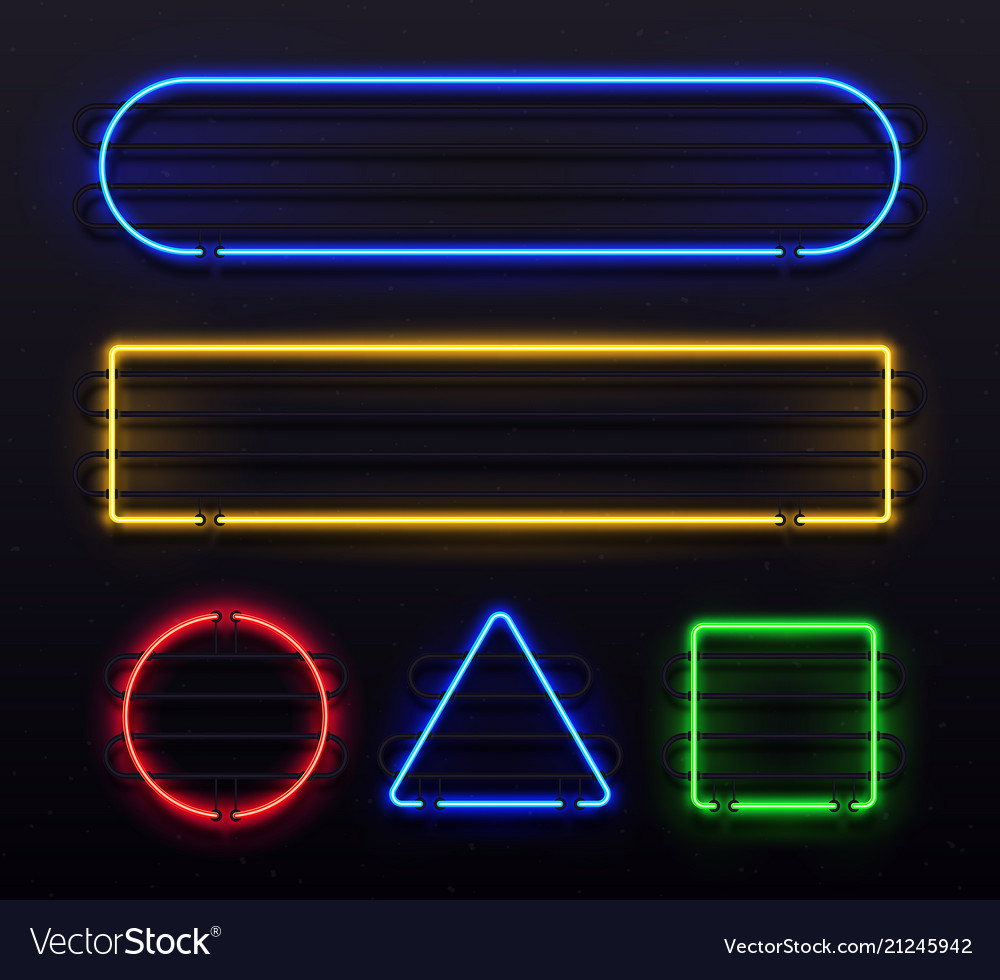 Realistic neon frame shiny banner with electric