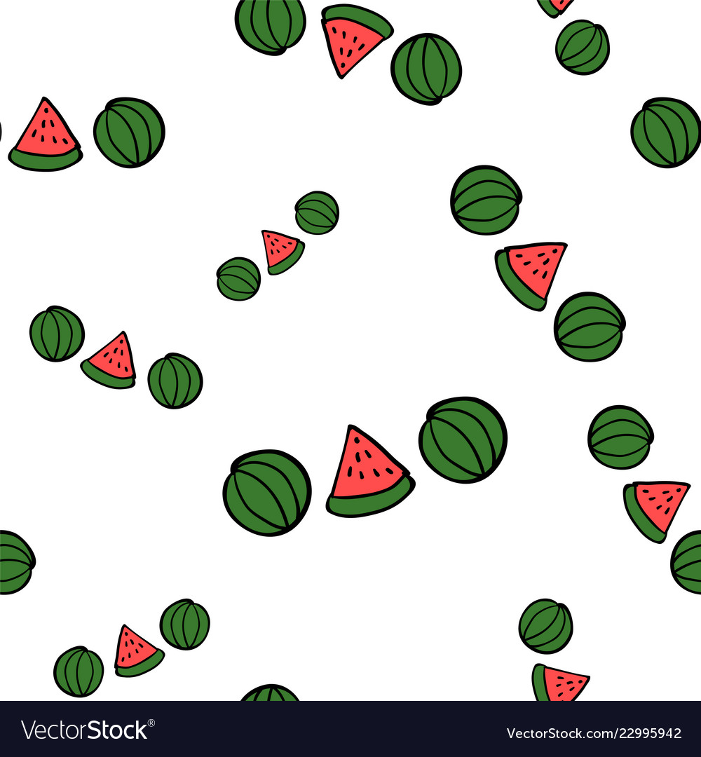 Seamless doodle watermelons on white background