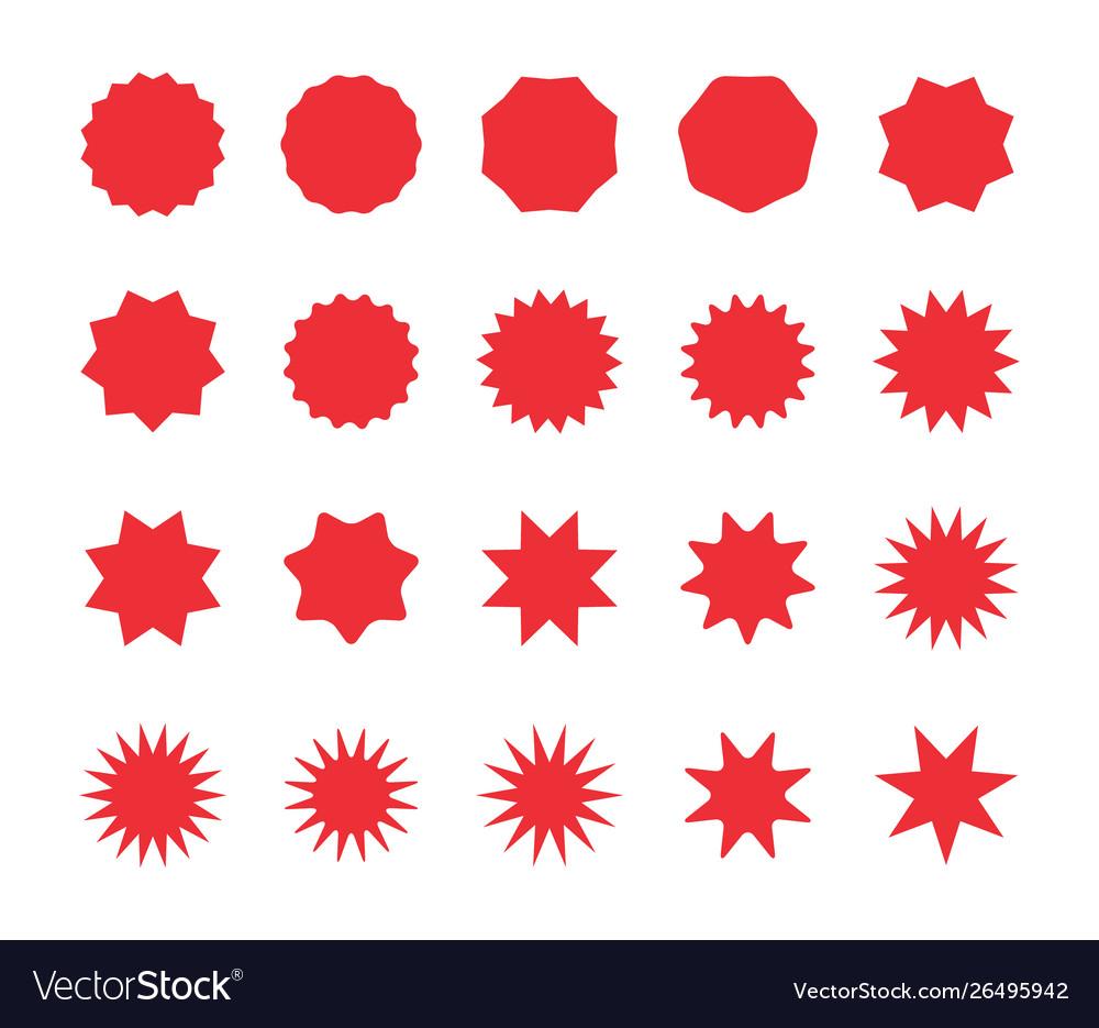 Set red starburst badges blank discount offer