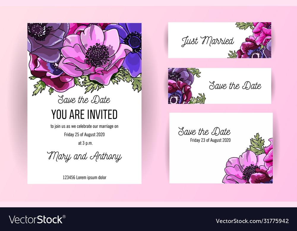 Set wedding invitation card with anemone hand
