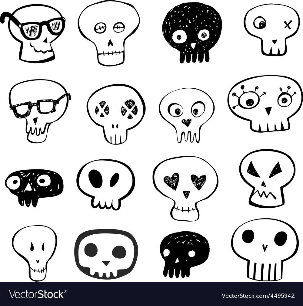 Skulls doodles set