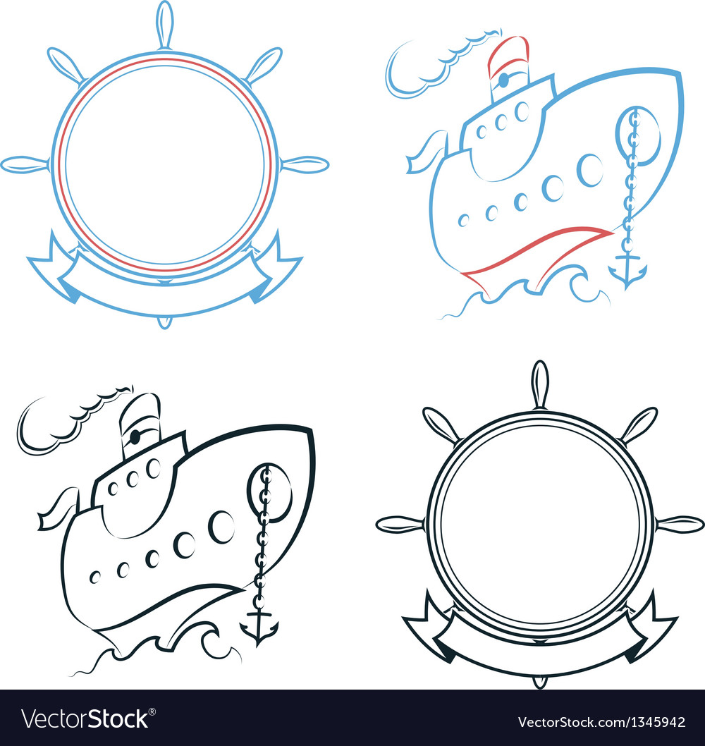 Steamship and ship wheel vector image