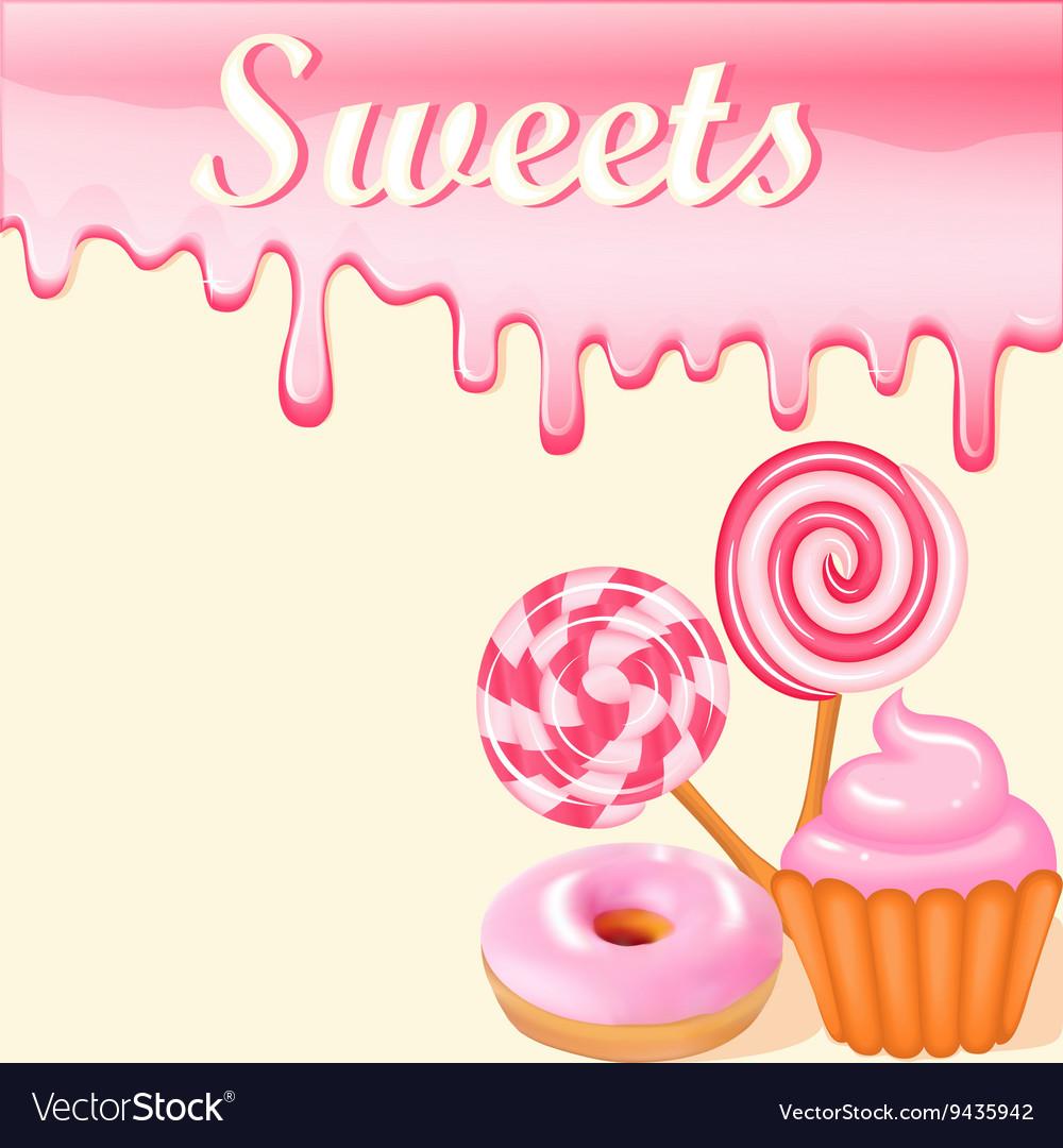 sweet dessert food frame background royalty free vector