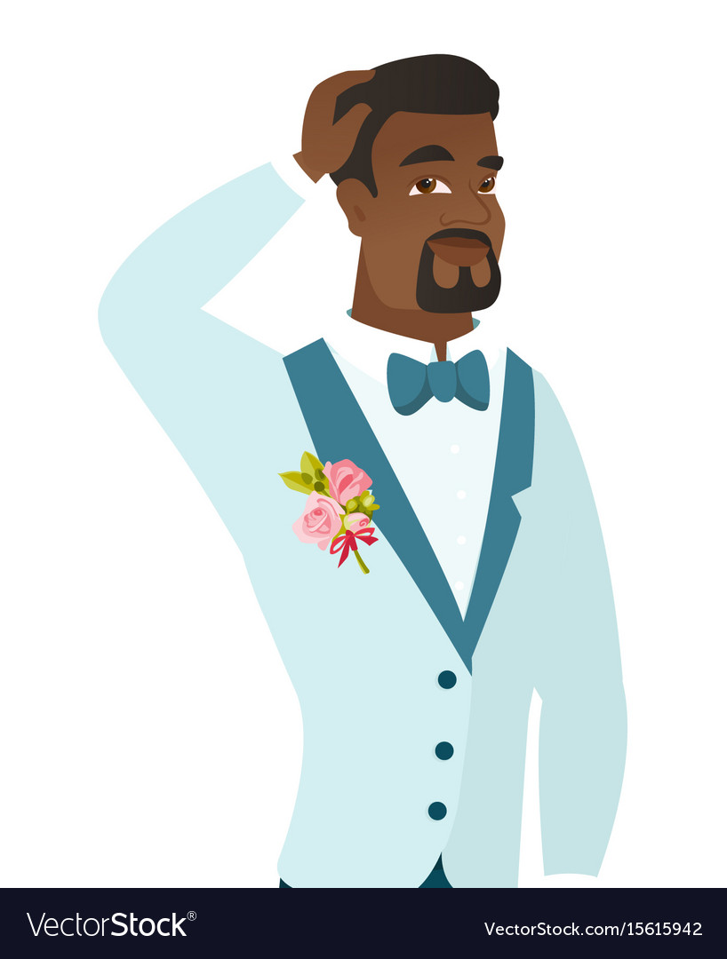 Young african-american groom scratching his head