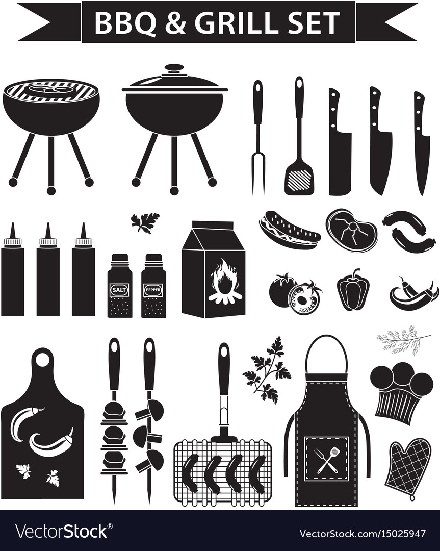 Barbecue and grill icons set black silhouette