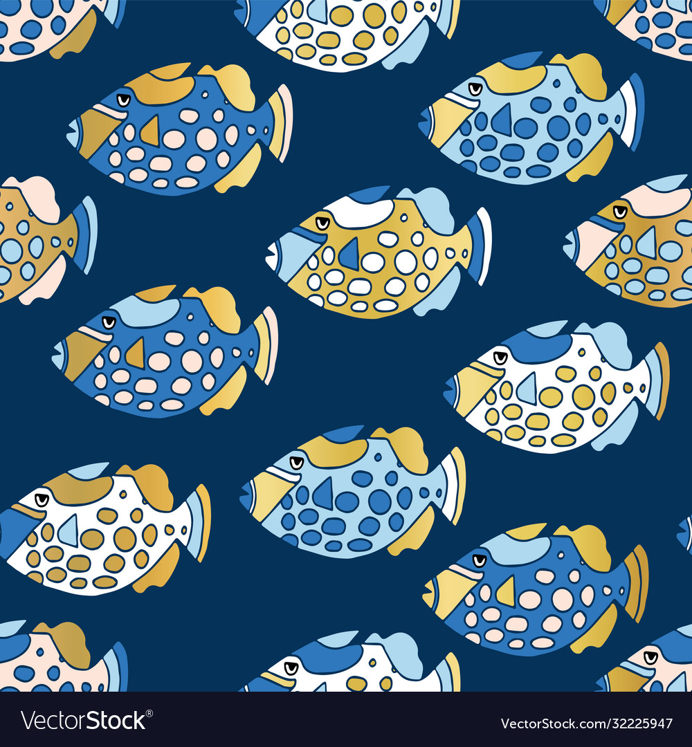 Blue and gold clown trigger fish seamless