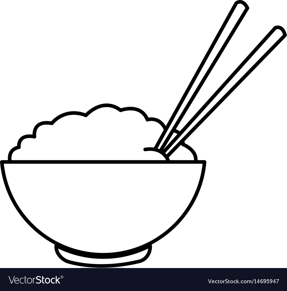Bowl of rice and chopsticks cooked dinner asian