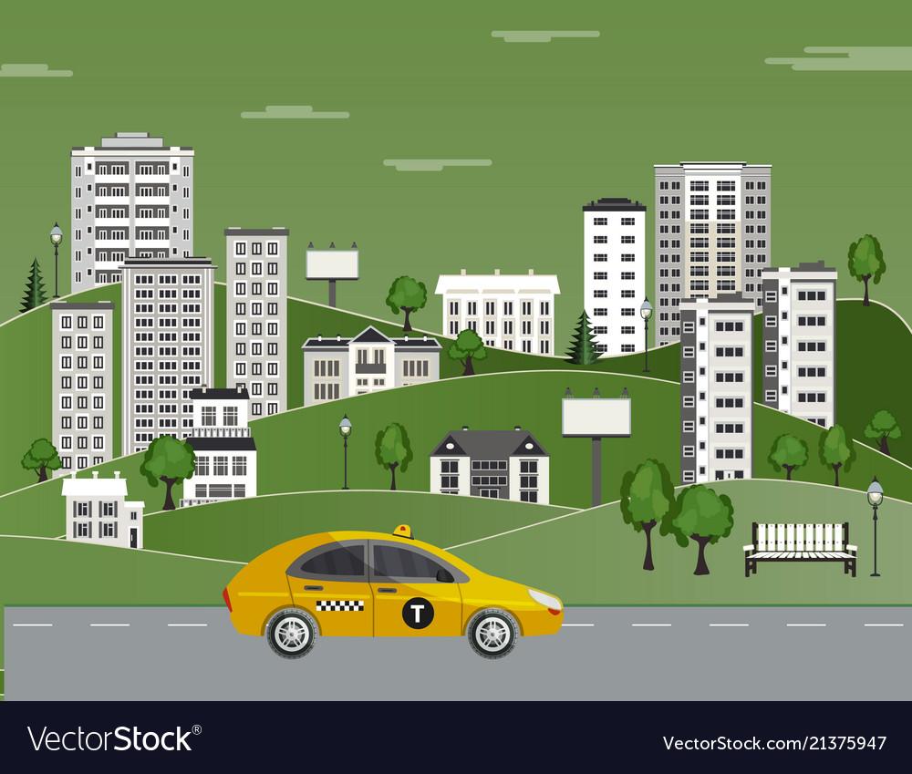 Cityscape poster taxi skyscraper building