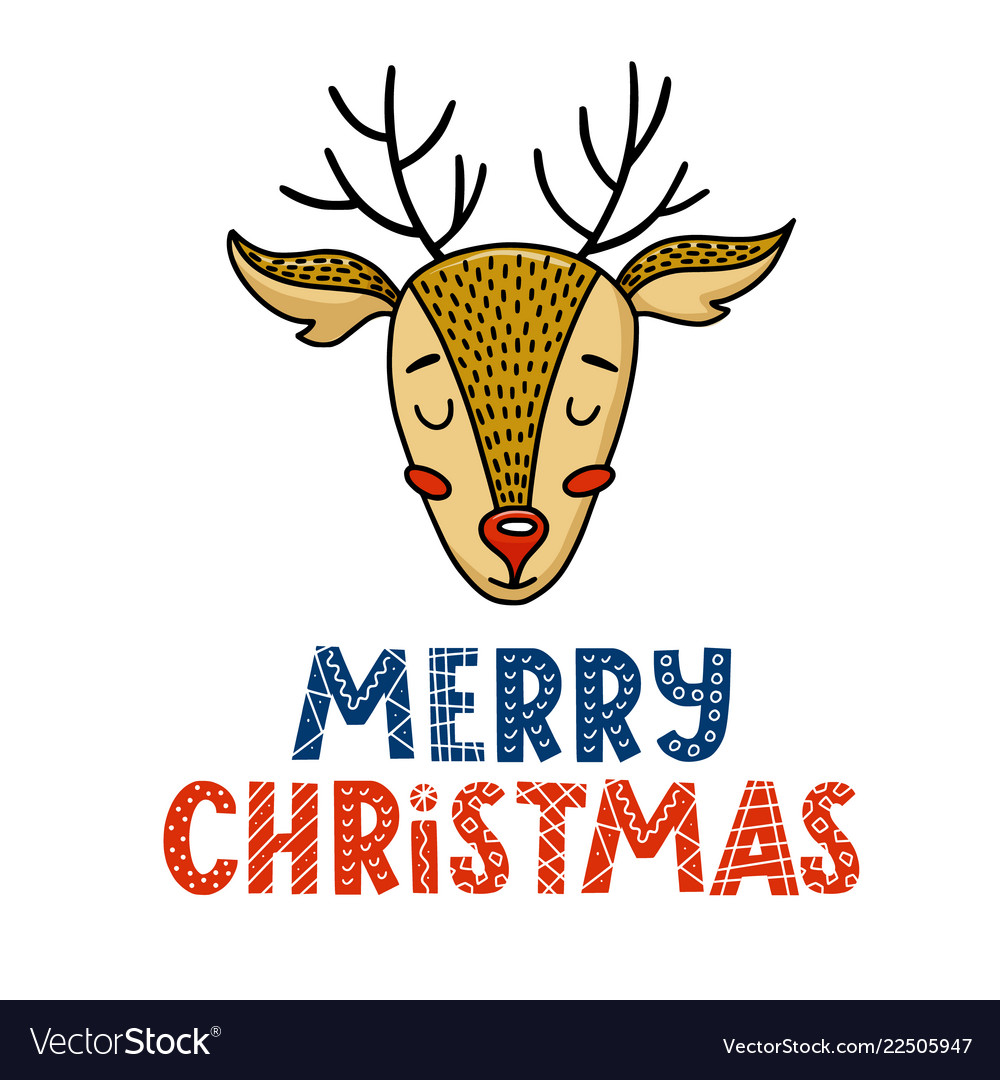 Cute merry christmas greeting card with deer